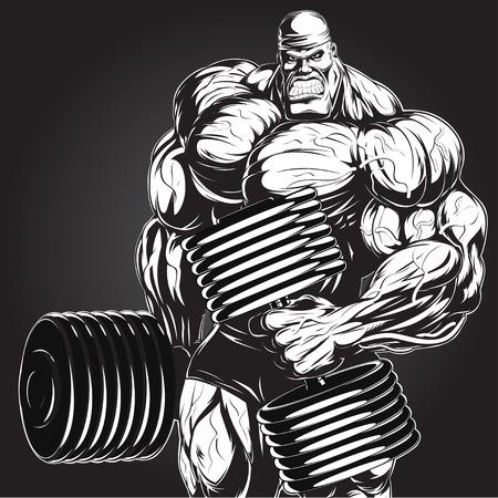 Illustrazione: un bodybuilder feroce con manubri Vettoriali