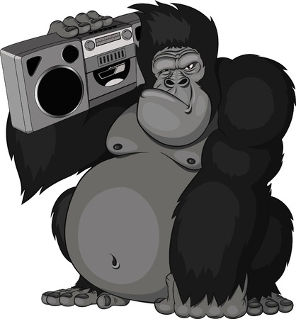 funny: monkey with a tape recorder Illustration