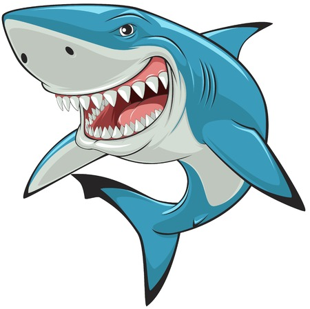 cartoon mascot: illustration: toothy white shark