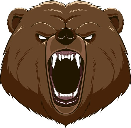 grizzly: Illustration: angry bear head mascot Illustration
