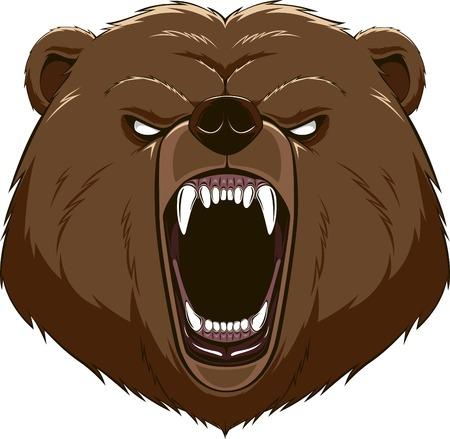 angry bear: Ilustraci�n: enojado cabeza de oso mascota