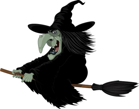 witch face: Illustration: Wicked witch flying on a broomstick