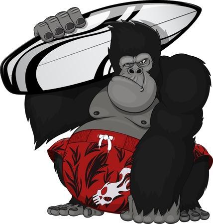 mono caricatura: Ilustración vectorial: mono con una tabla de surf Vectores