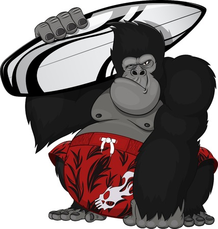 Vector illustration: monkey with a surfboard Illustration
