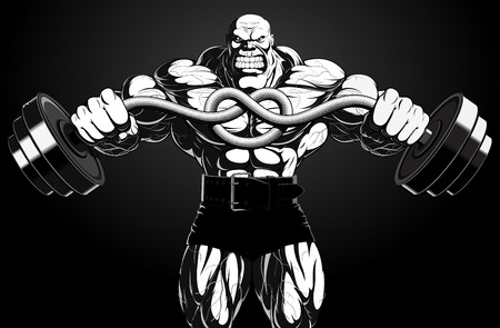 Illustration: a ferocious bodybuilder with a barbell Vector