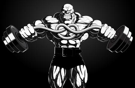 Illustrazione: un bodybuilder feroce con un bilanciere Archivio Fotografico - 29678841