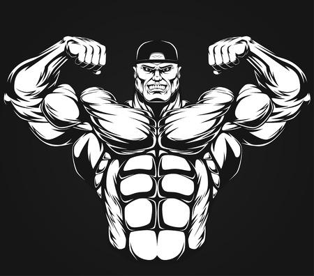 culturista: Bodybuilder que muestra los músculos, ilustración vektor