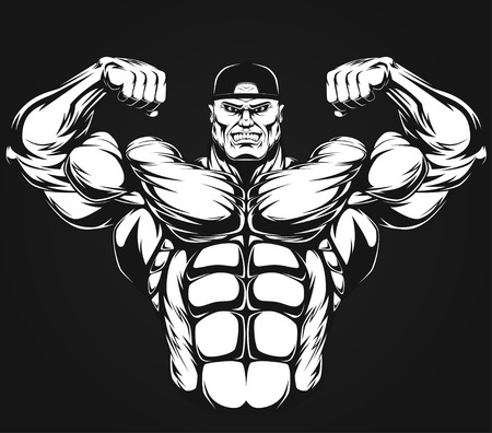 barbell: Bodybuilder showing muscles, illustration vektor