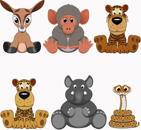 of antelope: Cute colorful exotic animals collection