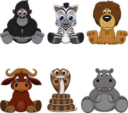 monkey cartoon: Vector illustration: set of funny animals