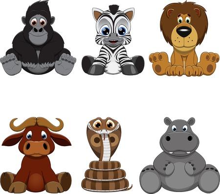 mono caricatura: Vector la ilustración: Conjunto de animales divertidos
