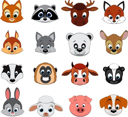 Vector Set Cute colorful exotic animals collection Vector