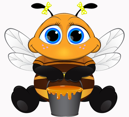 overcrowded: Cute bee with honey Illustration