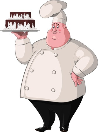 pastry chef: Illustration  Chef holds a tray with cake