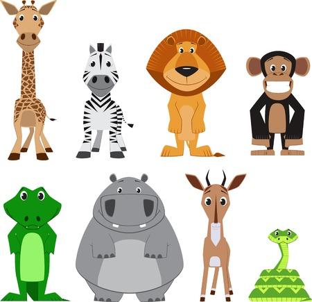 かわいいカラフルなエキゾチックな動物のコレクション