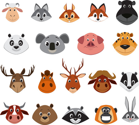 cartoon bear: Cute colorful exotic animals collection