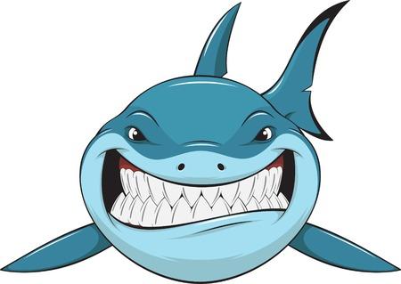 shark cartoon: Vector illustration: toothy white shark