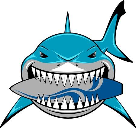 Vector illustratie, toothy witte haai