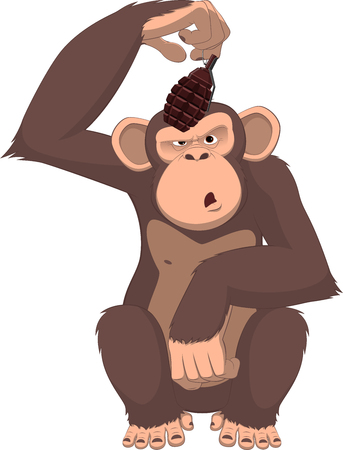 illustration, monkey with a grenade Illustration