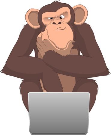 chimpances: ilustración, mono inteligente en un ordenador