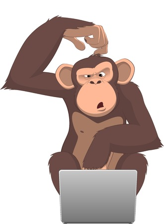 illustration, Clever monkey at a computer Vector