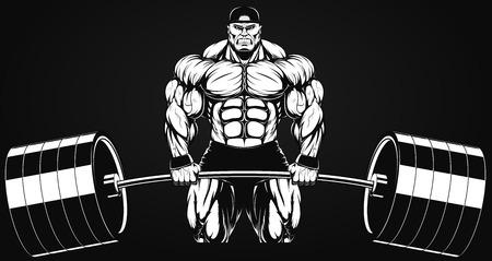 Illustratio, a ferocious bodybuilder with a barbell
