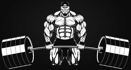 ferocious: Illustratio, a ferocious bodybuilder with a barbell