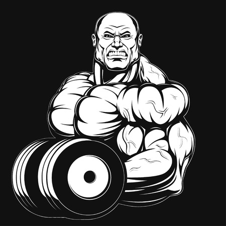 Illustration, a ferocious bodybuilder with dumbbell