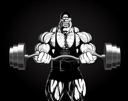 Illustrazione di un bodybuilder feroce con un bilanciere