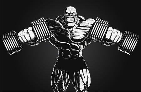 building contractor cartoon: Illustration  a ferocious bodybuilder with dumbbell