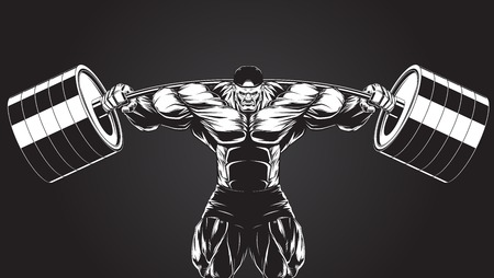 Illustration  a ferocious bodybuilder with a barbell Vectores