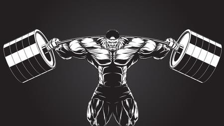 hombre fuerte: Ilustración de un culturista feroz con una barra