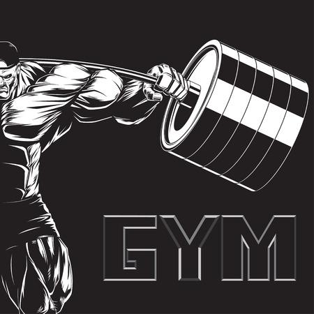 Illustrazione di un bodybuilder feroce con un bilanciere Vettoriali