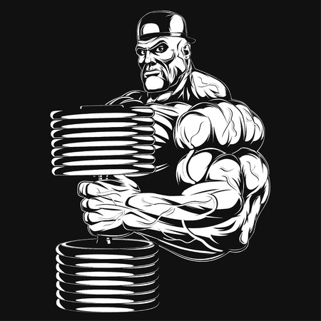 Illustration  a ferocious bodybuilder with dumbbell Vector