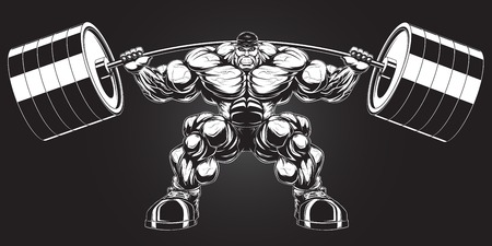 ferocious: Illustration  a ferocious bodybuilder with a barbell Illustration