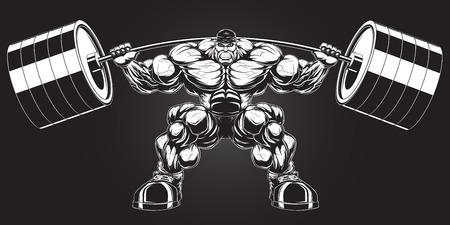Illustration d'un bodybuilder féroce avec une barre Illustration