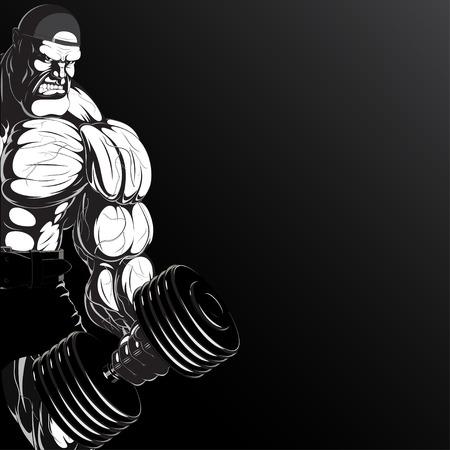 ダンベルと猛烈なボディービルダーの図  イラスト・ベクター素材