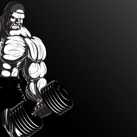 body builder: Illustration  a ferocious bodybuilder with dumbbell