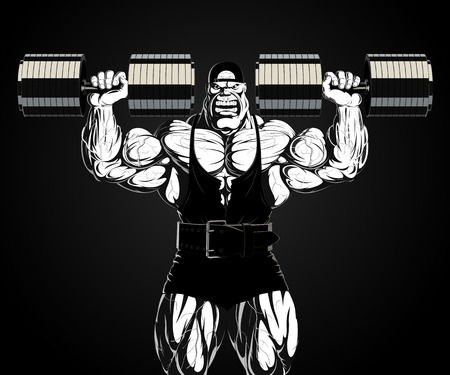 steroids: Illustration  a ferocious bodybuilder with dumbbell