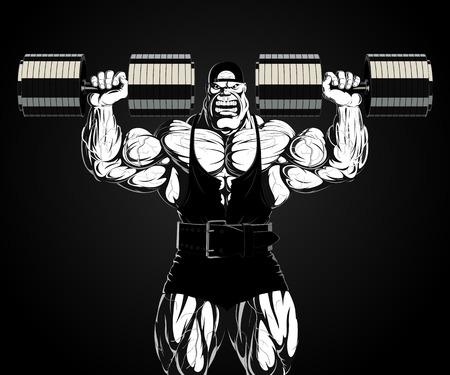 ferocious: Illustration  a ferocious bodybuilder with dumbbell