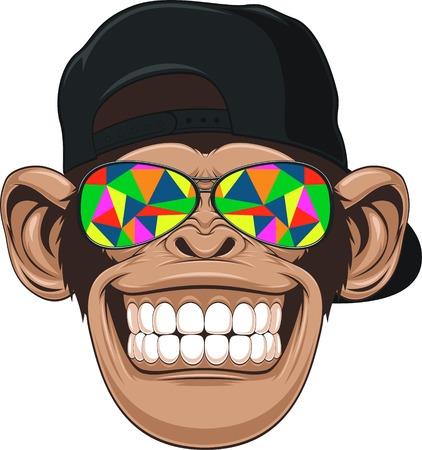 mono caricatura: ilustración, mono divertido con gafas Vectores