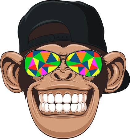 mono caricatura: ilustraci�n, mono divertido con gafas Vectores