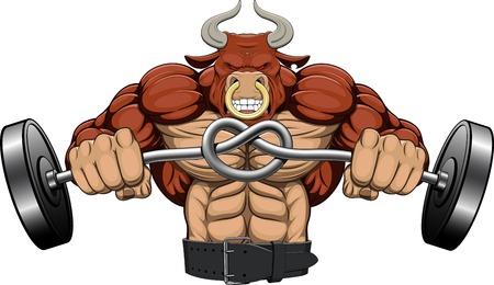 Illustratie, een sterke boze stier met een barbell