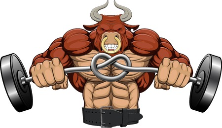 Illustration, a strong angry bull with a barbell