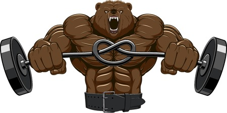 Illustration, angry bear head mascot Stock Illustratie