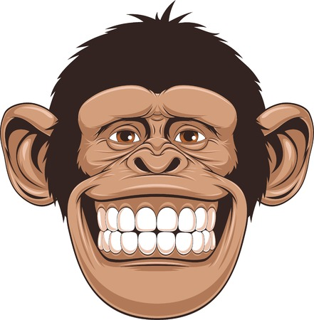monkey face: illustration of cheerful monkeys