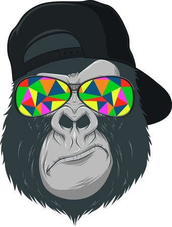 gorilla: illustration, funny monkey with glasses
