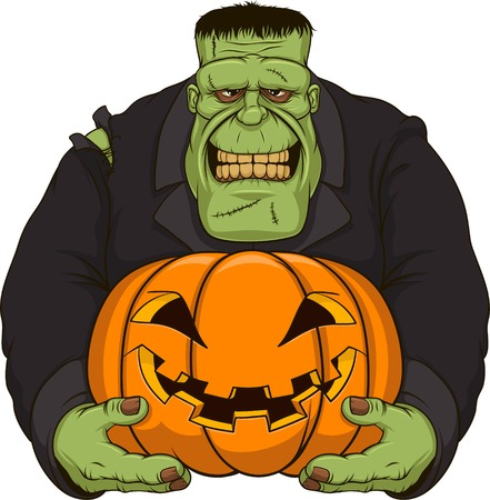 illustration, Zombie Frankenstein with pumpkin