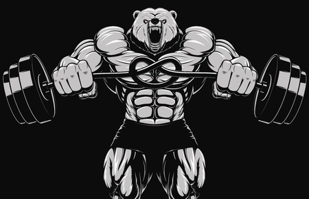 barbell: Illustration, angry bear head mascot Illustration
