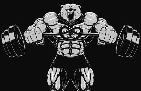 musculoso: Ilustración, cabeza de la mascota del oso enojado Vectores